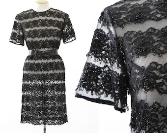 Alluring sheer lace dress | Vintage 60s beaded floral lace dress | 1960s black lace mini dress