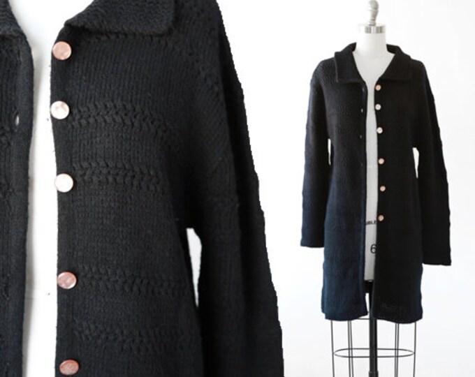 Black Knit duster | Vintage 70s black knit wool sweater |  long duster sweater