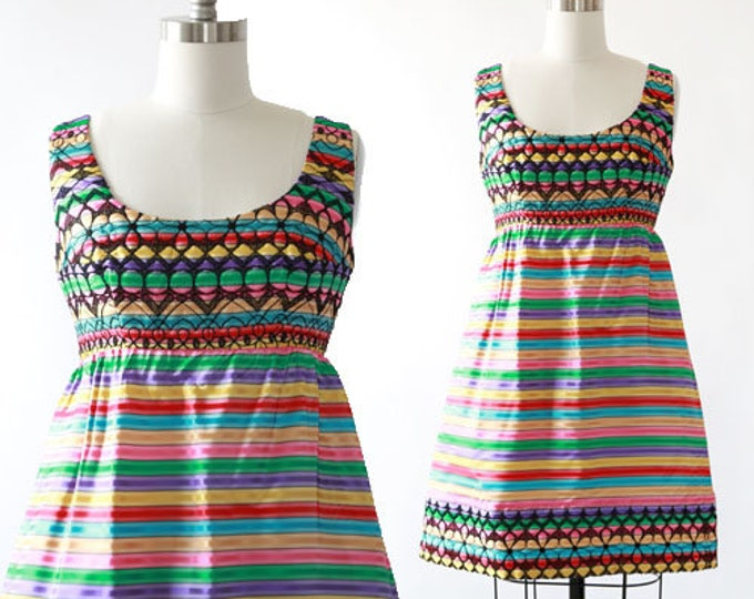 Rainbow mini dress | Vintage 60s Lanz original Easter dress M | floral ribbon mini dress