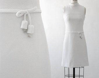 Adrian Tabin dress | Vintage 60s ribbed beaded bow Mod mini Dress