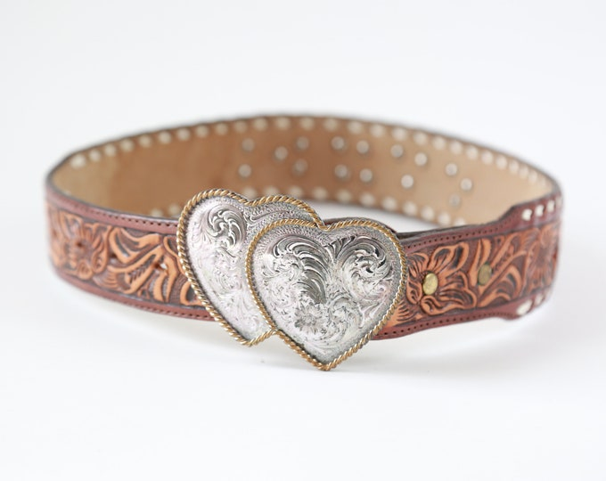 Vintage Sterling Silver heart belt buckle tooled leather name CINDI belt 26