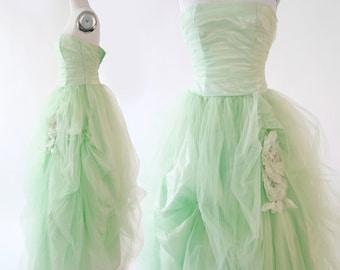 Gunne Sax Dress | Vintage Sea foam green tulle dress | wedding dress