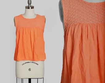 Salmon cotton gauze Top | Vintage 70s Mexican orange crochet cotton gauze blouse