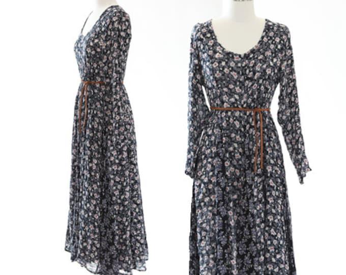 Floral maxi dress   Vintage 90s floral rayon maxi dress   Indian rayon dress