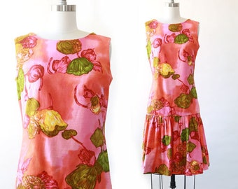 3439a7ed24d Vintage 60s Hawaiian drop waist Dress