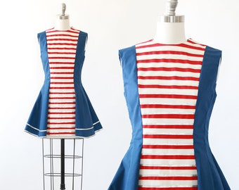 Patriotic Majorette costume | Vintage 60s costume | 1960s striped Majorettes mini dress