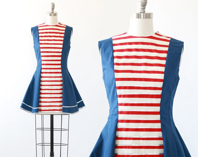 Patriotic Majorette costume | Vintage 60s costume | 1960s striped Majorettes mini dress