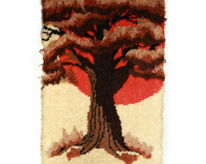 Vintage Mid Century Modern yarn fiber art tree