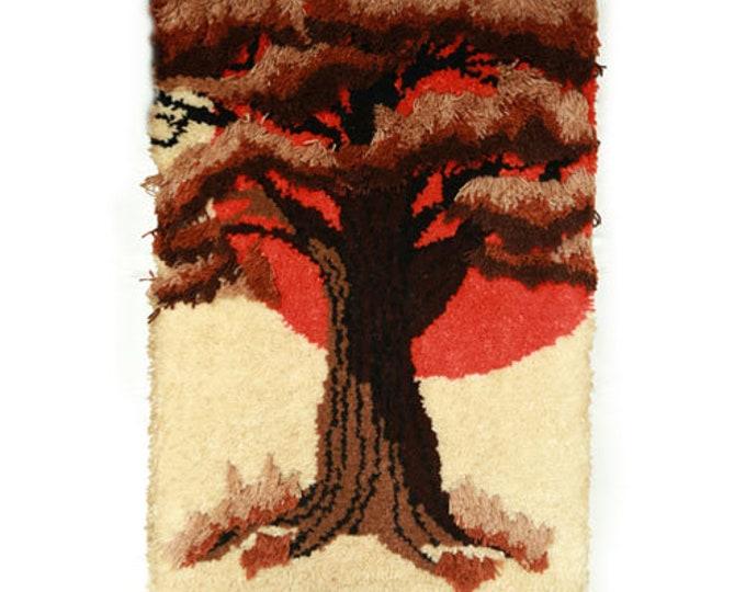 Fiber Art | Vintage Mid Century Modern yarn fiber art tree