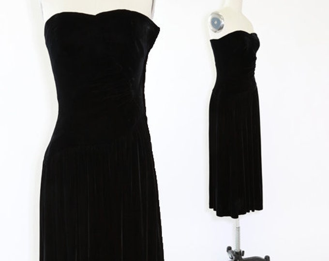 Kathryn Conniver dress | Vintage 80s silk velvet dress | velvet midi