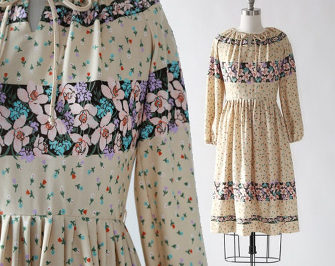 Bleeker Street floral dress | Vintage 70s floral midi dress | long sleeve dress