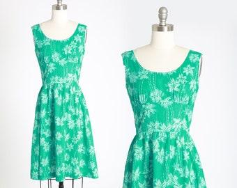 Palm tree dress | Vintage 50s 60s green cotton day dress | 1950s 60s tropical Hawaiian mini dress