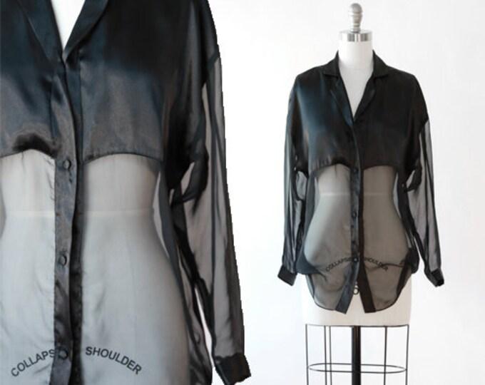 Vintage 90s sheer black blouse
