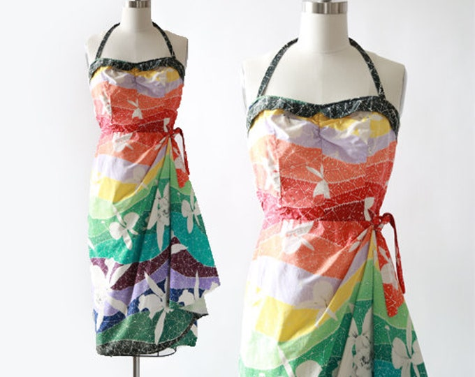 Rainbow Hawaiian dress | Vintage 50s Hawaiian sarong dress | 1950s Tropical floral Sarong dress