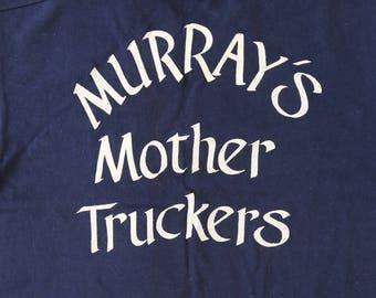 "RARE Vintage 70s deadstock navy blue ""Mother Truckers"" trucker T-shirt S"