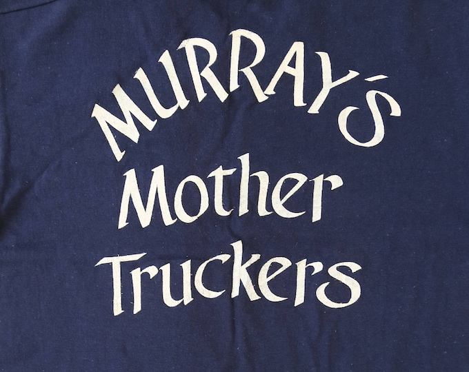 "RARE Vintage 70s deadstock navy blue ""Mother Truckers"" trucker T-shirt S"
