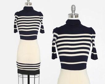 Crissa Linea Italiana dress   Vintage 70s striped knit wool dress   1970s turtleneck mini dress