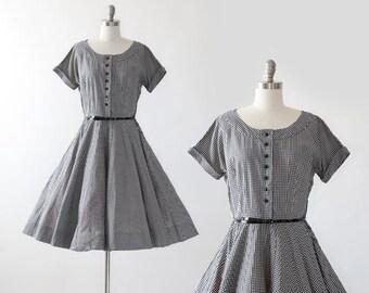 50s gingham dress | Vintage 50s black + white cotton Dress M