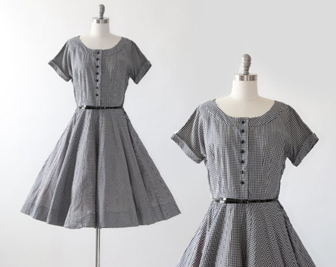 50s gingham dress | Vintage 50s black + white cotton Dress M