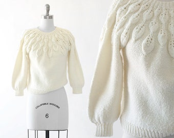 Fallen leaf sweater | Vintage 50s ivory knit leaf sweater | 1950s cropped wool sweater