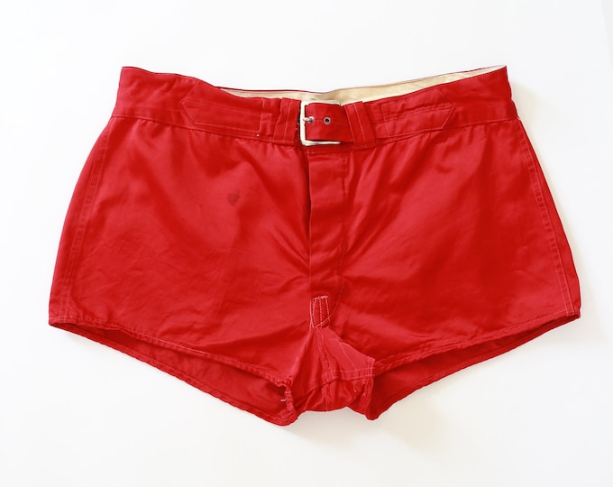 HIRSCH & PRICE Athletic shorts | Vintage 40s red satin Basketball Uniform athletic boxing Shorts