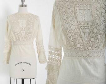 Antique Edwardian 1900s natural cotton lace crochet blouse
