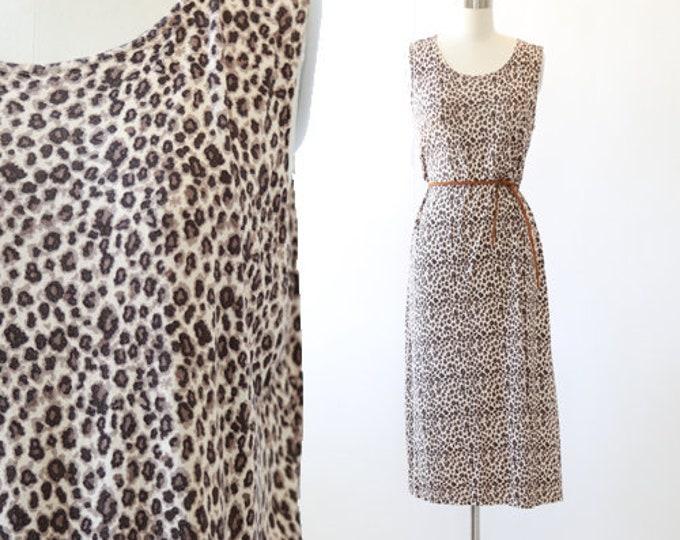 Leopard print dress | Vintage 80s leopard print cotton dress | Tank dress