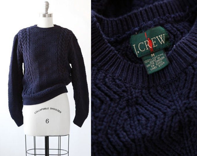J crew. sweater | Vintage 90s navy blue cable knit sweater | 1990s knit Fisherman sweater