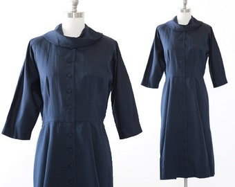 Poinette polished cotton dress | Vintage 50s blue wiggle dress