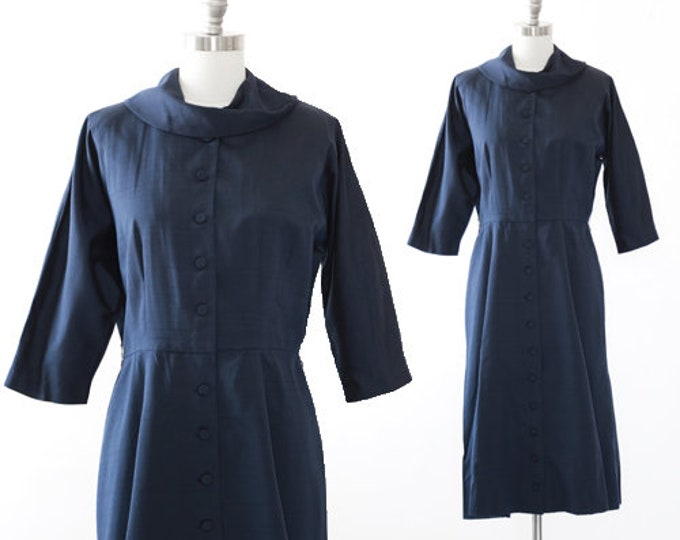 Poinette polished cotton dress | Vintage 50s blue wiggle dress