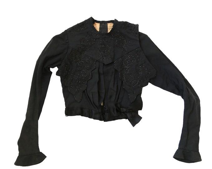 Antique 1900s Edwardian beaded coat top XS