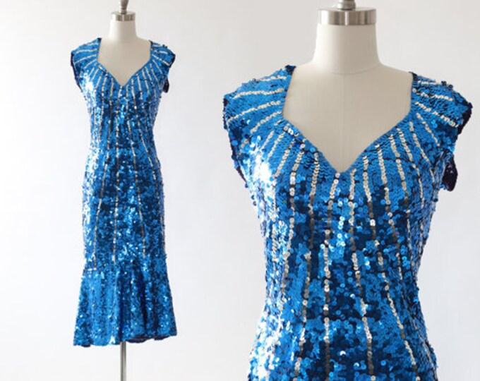 Starburst sequin dress | Vintage 70s blue sequin mermaid dress