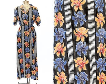 Floral cotton gauze dress | Vintage 70s tropical floral striped lurex maxi dress | 1970s Hawaiian cotton gauze dress