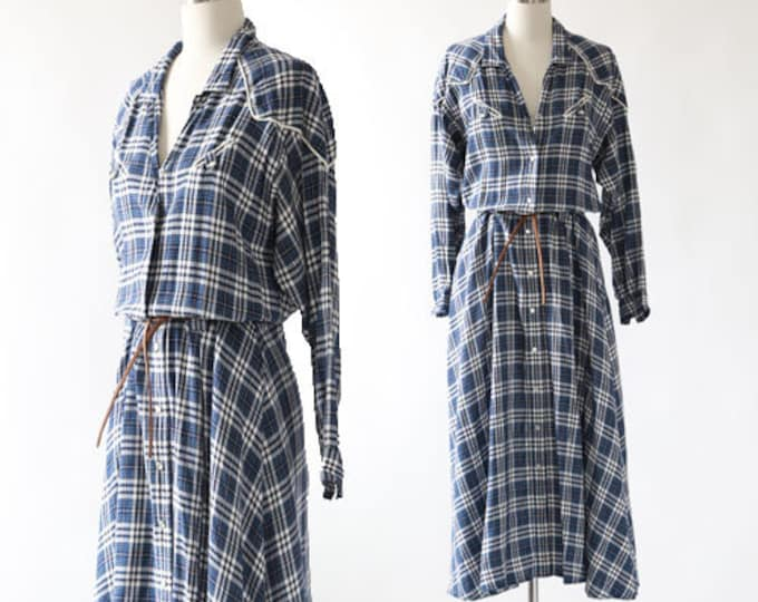 Western plaid rayon dress | Vintage 90s Liz Claiborne plaid maxi dress sz. 12