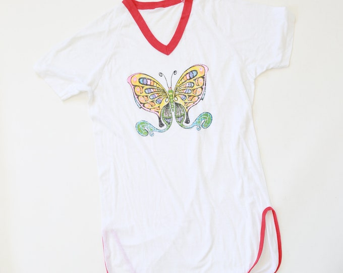 Vintage 70s paper thin burnout Butterfly T-Shirt nightie shirt