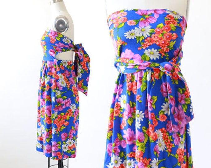 Vintage 70s topical floral Hawaiian barkcloth mini dress