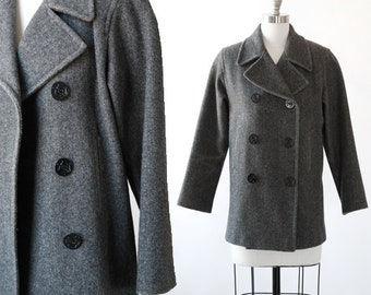 Marvin Richards peacoat | Vintage 90s gray wool peacoat | 1990s wool coat