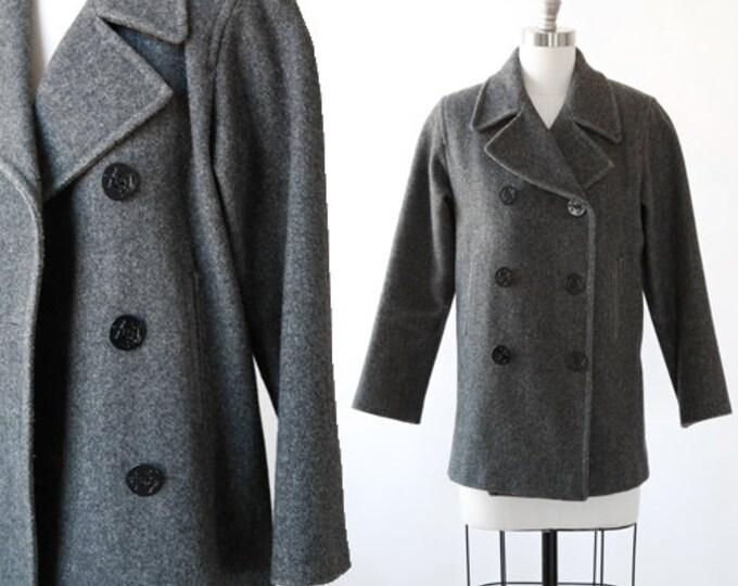 Marvin Richards peacoat | Vintage 90s gray wool peacoat | 1990s wool coat
