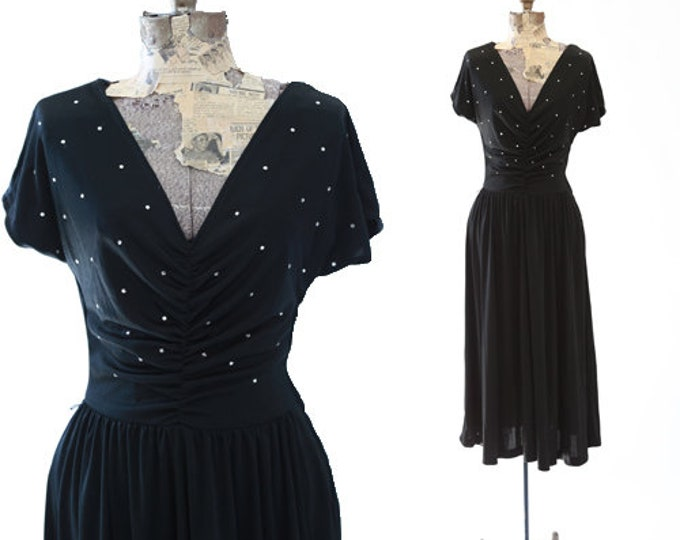 Young Edwardian bias cut dress | Vintage 70s 40s black jeweled dress