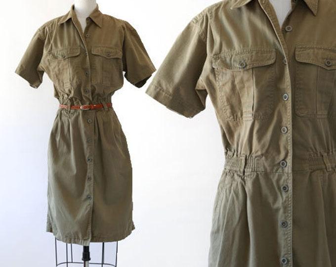 safari cotton field dress | Vintage 90s Liz Sport green safari shirt dress