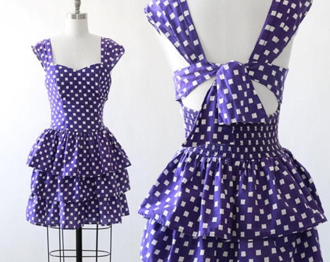 California ruffle mini dress | Vintage 80s checker ruffle bow tie mini dress