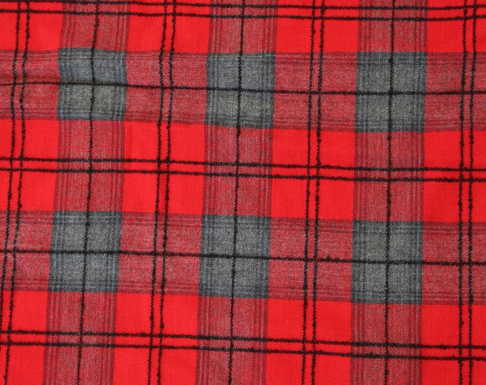 """Vintage Red plaid cotton blend FABRIC UPHOLSTERY blanket throw 44"""" x 75"""""""