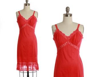 Bias cut slip dress | Vintage 40s 50s Hot pink slip dress | 1940s PowersModel floral lace slip dress lingerie