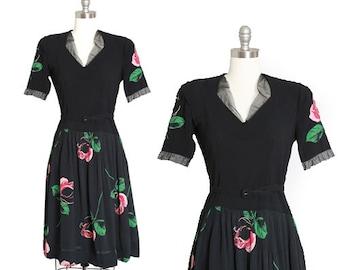 40s rose dress | Vintage 40s black floral Appliqué rose midi dress