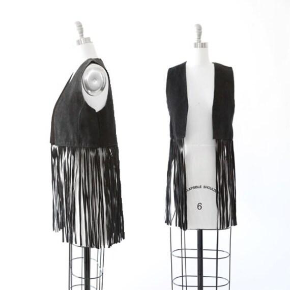 Vintage 70s black suede leather vest | Boho Fringe