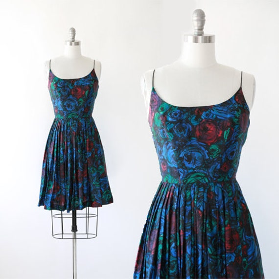 50s floral silk dress | Vintage 50s rose silk dres