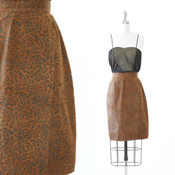 Winlit leopard print skirt | Vintage 80s 90s leath