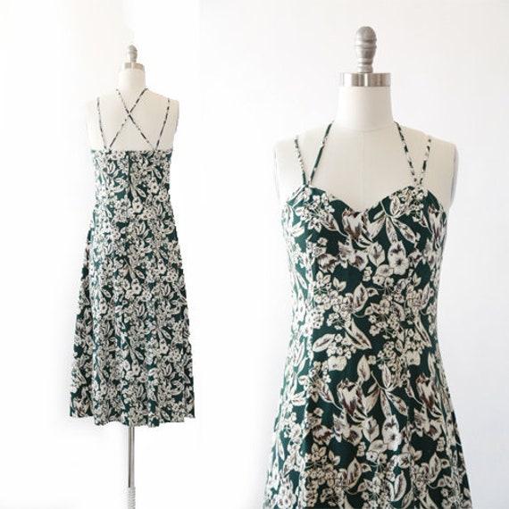 botanical midi dress | Vintage 90s floral criss cr