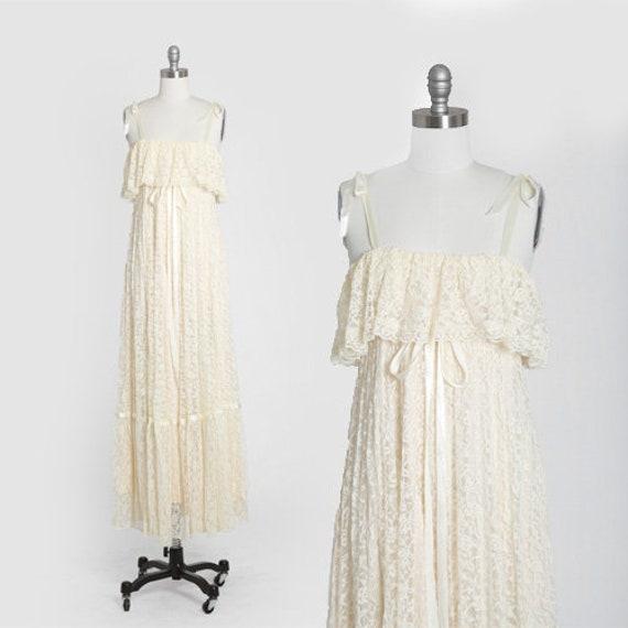 Ivory lace wedding dress | Vintage 70s boho lace w