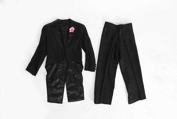 RARE Antique kids Suit tails   Vintage 20s black T